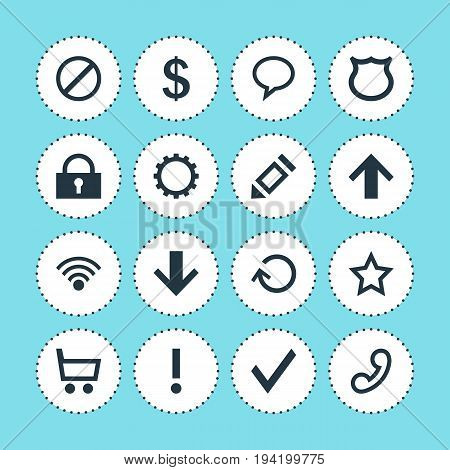 Vector Illustration Of 16 Member Icons. Editable Pack Of Pen, Shield, Access Denied And Other Elements.