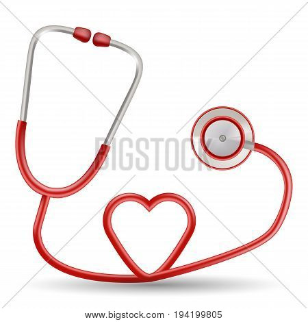 Vector Red Stethoscope In Shape Of Heart Isolated On A White Background. Realistic Vector Illustration. Medicine.