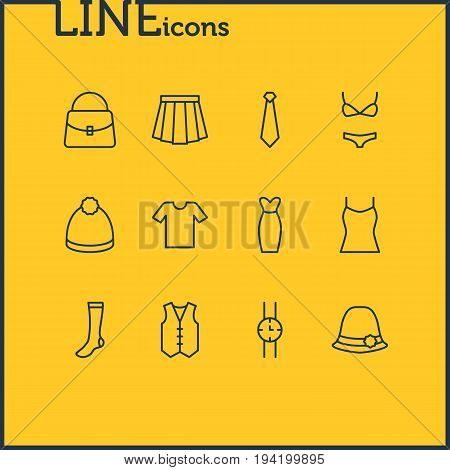 Vector Illustration Of 12 Clothes Icons. Editable Pack Of Pompom, Casual, Cravat And Other Elements.
