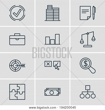 Vector Illustration Of 12 Management Icons. Editable Pack Of Riddle, Graph, Goal And Other Elements.