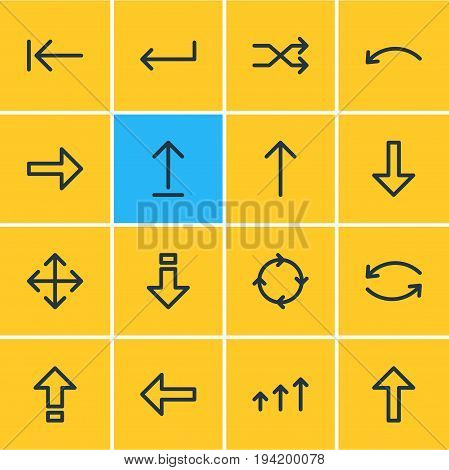 Vector Illustration Of 16 Direction Icons. Editable Pack Of Shrift, Increase, Upwards And Other Elements.