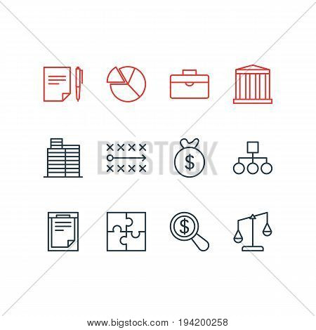Vector Illustration Of 12 Trade Icons. Editable Pack Of Portfolio, House, Bag And Other Elements.