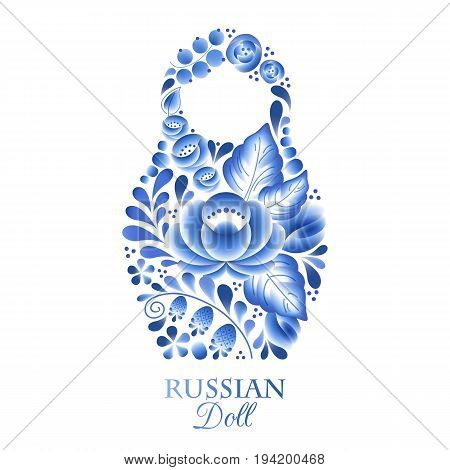 Russian nesting doll matrioshka - gzhel style decoration vector. Symbol of Russia.