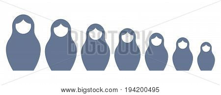 Russian nesting doll matrioshka set vector. Flat style. Symbol of Russia.