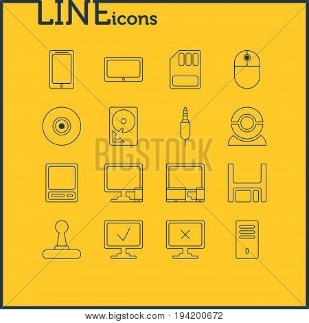 Vector Illustration Of 16 Computer Icons. Editable Pack Of Phone Near Computer, Diskette, Storage And Other Elements.
