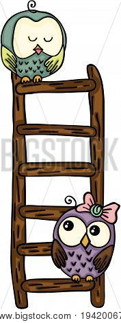 Scalable vectorial image representing a cute owls on top of ladder, isolated on white.