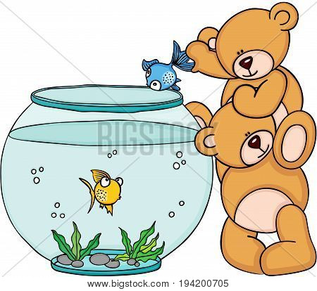 Scalable vectorial image representing a teddy bear put a blue fish in a aquarium, isolated on white.