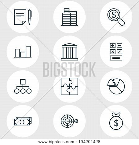 Vector Illustration Of 12 Management Icons. Editable Pack Of Cash, Building, Scheme And Other Elements.
