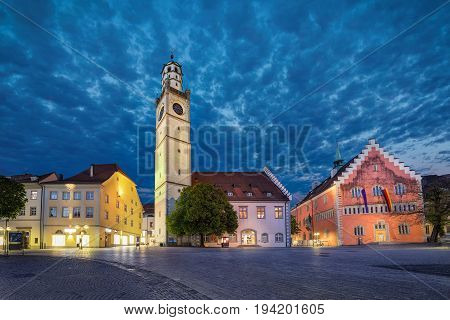 Historical landmarks of Ravensburg: Blaserturm (trumpeter's tower) Waaghaus (weighing house) and Town hall (Rathaus) loacated on Marienplatz square