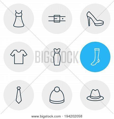 Vector Illustration Of 9 Clothes Icons. Editable Pack Of Pompom, Sandal, Cravat Elements.