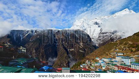 Panoramic view of the Namche Bazaar village with Kongde Ri mount on the background. Sagarmatha national park Nepal