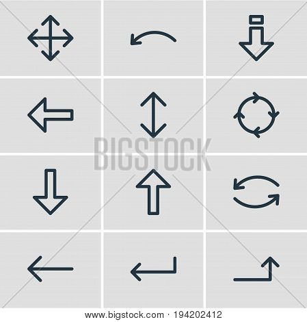 Vector Illustration Of 12 Sign Icons. Editable Pack Of Widen, Exchange, Turn And Other Elements.