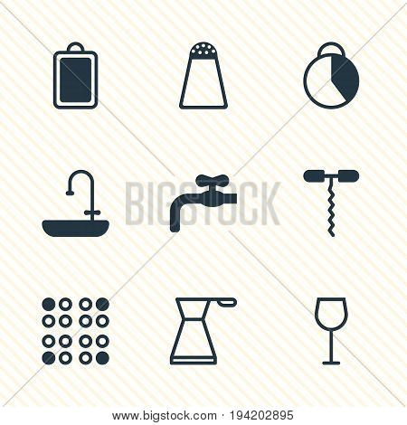 Vector Illustration Of 9 Cooking Icons. Editable Pack Of Faucet, Wine Opener, Timekeeper And Other Elements.