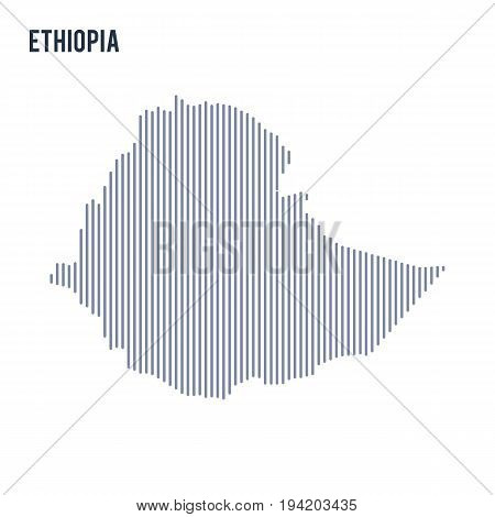 Vector Abstract Hatched Map Of Eritrea With Vertical Lines Isolated On A White Background.