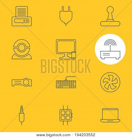 Vector Illustration Of 12 Computer Icons. Editable Pack Of Game Controller, Presentation, Cooler And Other Elements.