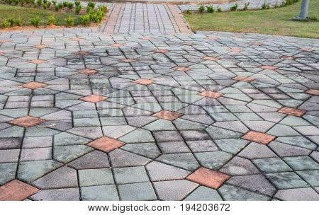 walkway block stone color cement in the park and copy space add text Select focus with shallow depth of field.
