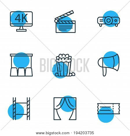 Vector Illustration Of 9 Cinema Icons. Editable Pack Of Theater, Slideshow, Resolution And Other Elements.