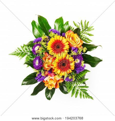 Bouquet of rose and gerbera flowers isolated on white background clipping path included. Flower arrangement. Flat lay top view