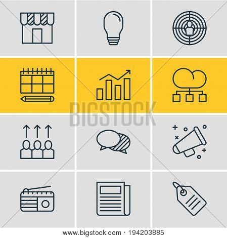Vector Illustration Of 12 Advertising Icons. Editable Pack Of Cloud Distribution, Statistics, Shop And Other Elements.