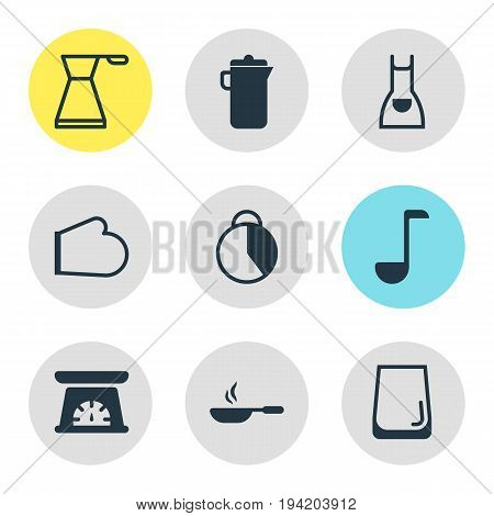 Vector Illustration Of 9 Cooking Icons. Editable Pack Of Oven Mitts, Kettle, Measuring Tool And Other Elements.