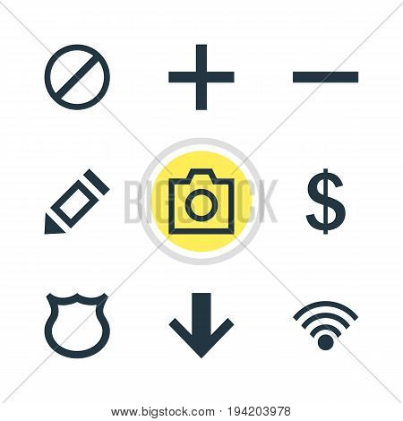 Vector Illustration Of 9 User Icons. Editable Pack Of Cordless Connection, Pen, Snapshot And Other Elements.