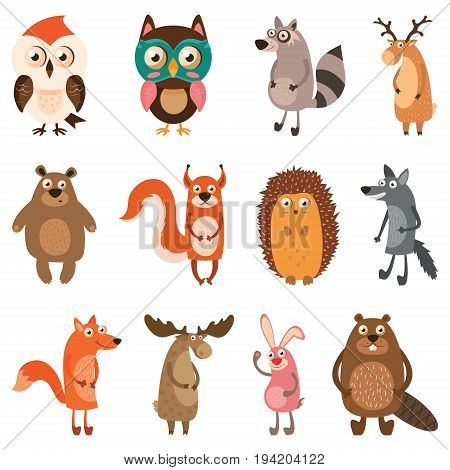 Cute forest animals. Vector illustration on white isolated background.