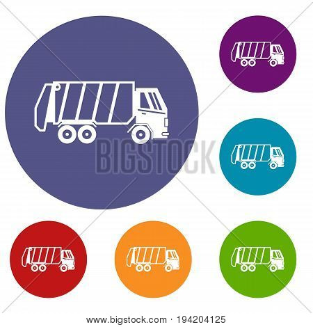Garbage truck icons set in flat circle reb, blue and green color for web