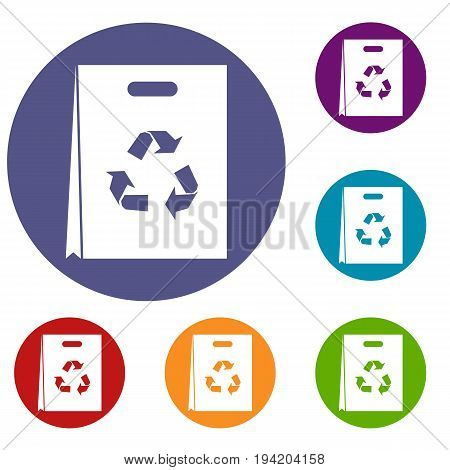 Package recycling icons set in flat circle reb, blue and green color for web
