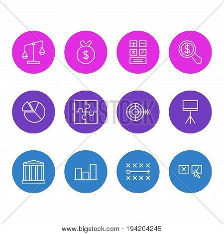 Vector Illustration Of 12 Business Icons. Editable Pack Of Calculate, Goal, Magnifier And Other Elements.