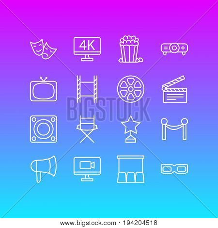Vector Illustration Of 16 Cinema Icons. Editable Pack Of Reward, Resolution, Slideshow And Other Elements.