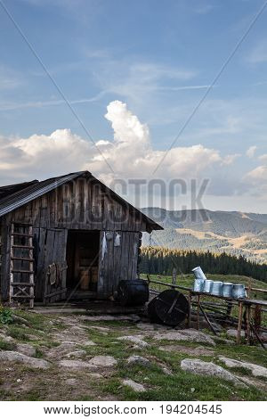 Wooden shepherds' shed in the Ukrainian Carpathians.