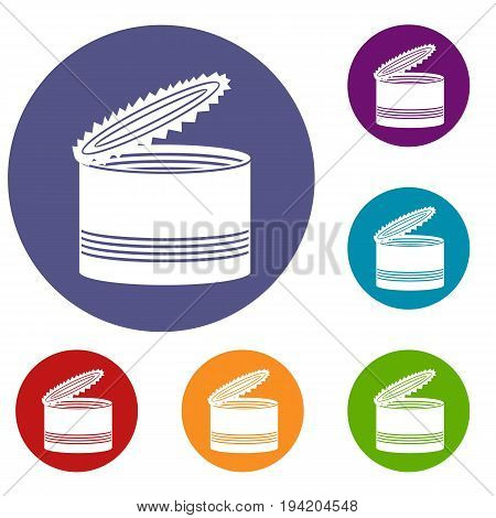 Open tin can icons set in flat circle reb, blue and green color for web