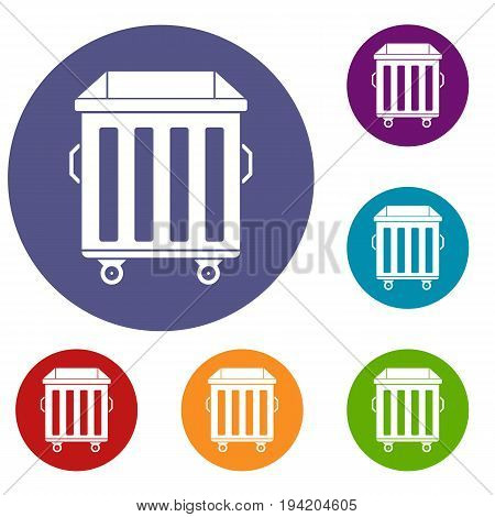 Dumpster on wheels icons set in flat circle reb, blue and green color for web