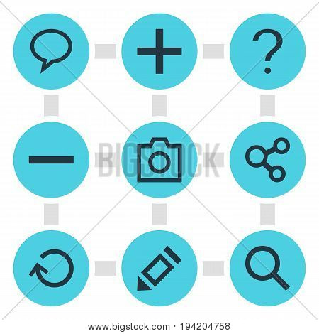 Vector Illustration Of 9 Interface Icons. Editable Pack Of Plus, Help, Minus And Other Elements.