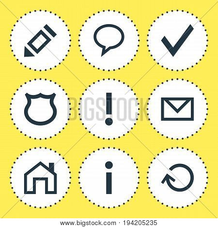 Vector Illustration Of 9 User Icons. Editable Pack Of Talk Bubble, Letter, Info And Other Elements.