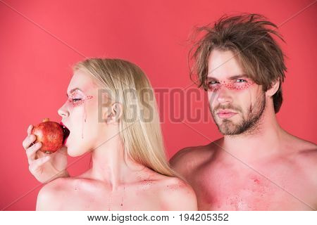 Couple Of Woman And Man With Makeup Hold Pomegranate