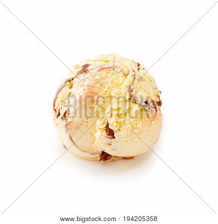 Fresh mocha-vanilla ice cream sprinkles isolated on white background.