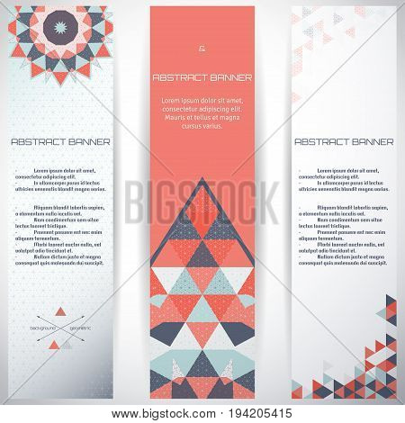Set of three vertical banners. Multicolored triangles and grid. Complied with the standard sizes.