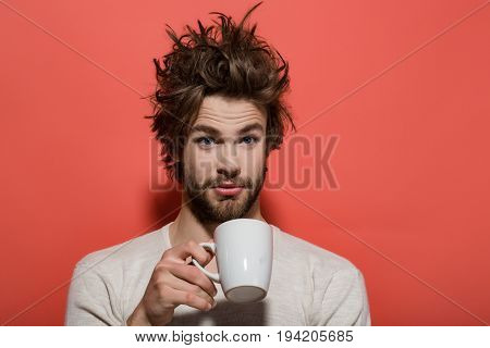 Morning Refreshment Of Surprised Man With Cup Of Tea, Coffee