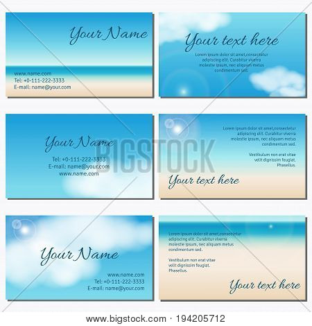 Set of six horizontal business cards. Sky clouds sunshine and sandy beach. Complied with the standard sizes.