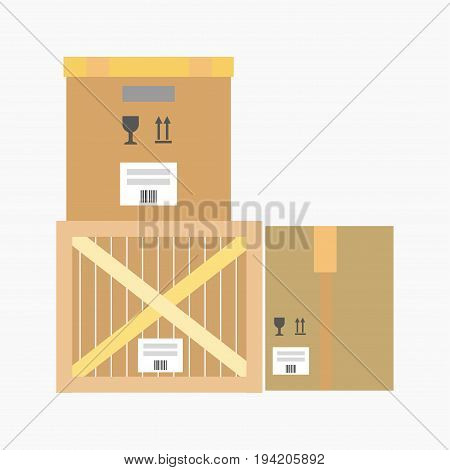 Logistics flat icon of wooden parcel box or cardboard paper packaging. Vector isolated mail container or shipment freight for warehouse infographics