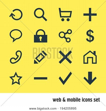 Vector Illustration Of 16 User Icons. Editable Pack Of Renovate, Publish, Downward And Other Elements.