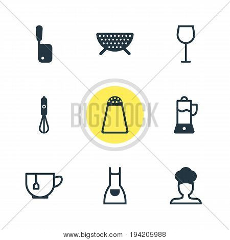 Vector Illustration Of 9 Cooking Icons. Editable Pack Of Smock, Pepper Container, Mug And Other Elements.