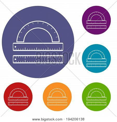 Ruler and protractor icons set in flat circle reb, blue and green color for web