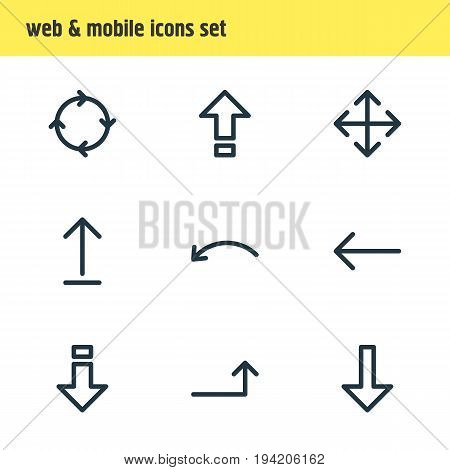 Vector Illustration Of 9 Arrows Icons. Editable Pack Of Submit, Left, Circle And Other Elements.