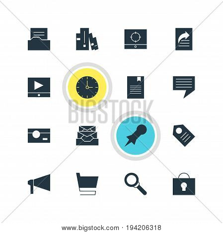 Vector Illustration Of 16 Online Icons. Editable Pack Of Clock, Keyhole, Capture And Other Elements.