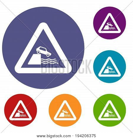 Riverbank traffic sign icons set in flat circle reb, blue and green color for web