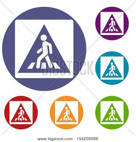 Pedestrian road sign icons set in flat circle reb, blue and green color for web