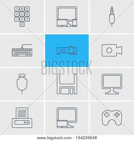 Vector Illustration Of 12 Laptop Icons. Editable Pack Of Diskette, Input Jack, Tablet With PC And Other Elements.