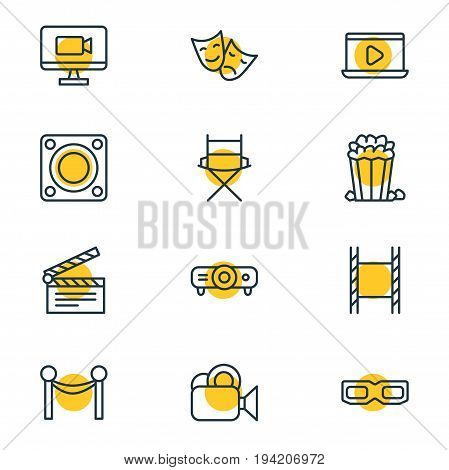 Vector Illustration Of 12 Cinema Icons. Editable Pack Of Spectacles, Filmstrip, Clapper And Other Elements.